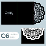 C6 paper openwork greeting card,  wedding invitation, template for cutting, lace invitation, card with fold lines, object  Stock Photo