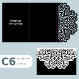 C6 paper openwork greeting card,  wedding invitation, template for cutting, lace invitation, card with fold lines, object  Stock Image