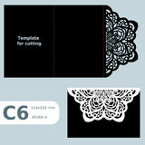 C6 paper openwork greeting card,  wedding invitation, template for cutting, lace invitation, card with fold lines, object  Royalty Free Stock Images