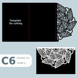 C6 paper openwork greeting card,  wedding invitation, template for cutting, lace invitation, card with fold lines, object isolated Stock Images
