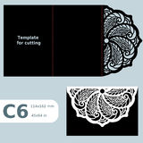 C6 paper openwork greeting card,  wedding invitation, template for cutting, lace invitation, card with fold lines, object isolated Stock Photo