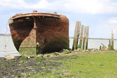 C13 Prisoners shipwreck in Kent. Front of Ship At Country Park in Kent Prisoners kept on it during C13 Stock Photography
