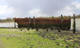 C13 Prisoners shipwreck in Kent. Front of Ship At Country Park in Kent Prisoners kept on it during C13 Stock Photos