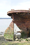 C13 Prisoners shipwreck in Kent. Front of Ship At Country Park in Kent Prisoners kept on it during C13 Stock Images