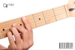 C sharp major guitar chord tutorial Royalty Free Stock Photos