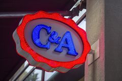 C&A sklepu neonowy znak Obraz Stock