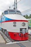 C.C. soviética do trem de alta velocidade do ER 200 Museu de Novosibirsk da estrada de ferro Imagens de Stock
