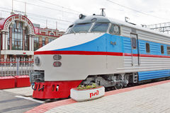 C.C. soviética do trem de alta velocidade do ER 200 Museu de Novosibirsk da estrada de ferro Foto de Stock