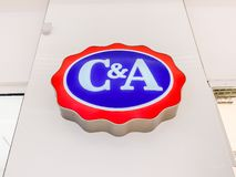 C&A store brand logo. LYON, FRANCE - FEBRUARY 27, 2019: C&A store of international chain of mass fashion retail clothing stores brand logo at its building stock images