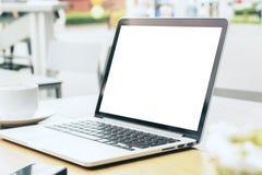 Côté blanc vide d'ordinateur portable Photo stock