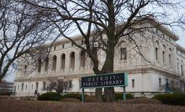 Côté de bibliothèque publique de Detroit Photographie stock