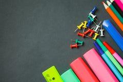 Côté de fournitures scolaires Photo stock