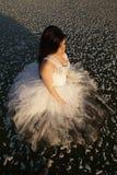 Côté de regard de vue supérieure de glace de robe formelle de femme image stock