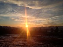 Côté du coucher du soleil de route Photo libre de droits