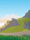 Côté Rocky Hills With de pays un chemin Photographie stock libre de droits