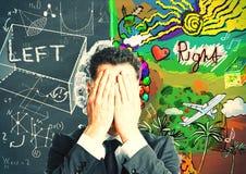 Côtés gauches et droits du concept de cerveau images libres de droits