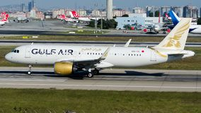 A9C-TA Gulf Air, Airbus A320-251N. A9C-TA is rolling for take-off on runway 35L at Istanbul Ataturk Airport LTBA, October 6, 2018 royalty free stock image