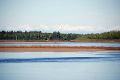 Côte à l'intérieur Russie de rivière de Kolyma Photo stock