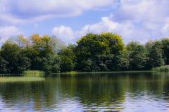 Côte automnale de lac Photo stock