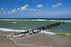 Côte baltique et le brise-lames Photos libres de droits