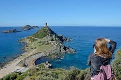 Côte corse avec les îles ensanglantées Images libres de droits
