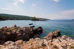 Côte d'île d'Evia Images libres de droits