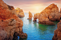 Côte d'Algarve à Lagos Images libres de droits
