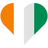C te d Ivoire flat heart flag Stock Images