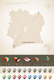 C�te d'Ivoire. Republic of C�te d'Ivoire and Africa maps, plus extra set of isometric icons & cartography symbols set (part of the World Maps Set Royalty Free Stock Images