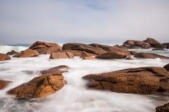 Côte de l'Océan Atlantique en Bretagne Photographie stock