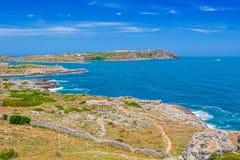 Côte de la mer Méditerranée d'île de Menorca Images libres de droits