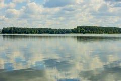Côte de lac avec la forêt Photos stock