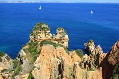 Côte de Lagos, Algarve au Portugal Photo stock