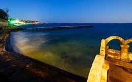 Côte de nuit de mer (Bulgarie) Photos libres de droits