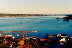 Côte de paysage de la mer et du fjord Photos stock