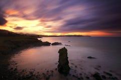Côte des Asturies à l'aube Photos stock