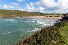 Côte du nord Angleterre R-U des Cornouailles de crique de baie cornouaillaise de Porthcothan photos libres de droits