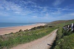 Côte du nord de Woolacombe Devon images libres de droits