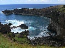 Côte volcanique sauvage de sud-ouest d'île de Pâques Images libres de droits