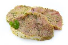 Côtelette de porc, marinée D'isolement sur le fond blanc Images stock