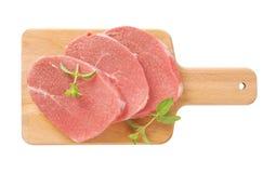 Côtelettes crues d'échine de porc Photos stock