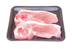 Côtelettes de porc crues Images libres de droits