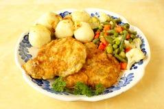 Côtelettes frites d'échine de porc Image libre de droits