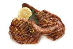 Côtelettes grillées de porc Image libre de droits