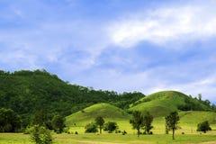 Côtes vertes et ciel bleu Images libres de droits
