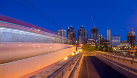 C-Train and Calgary skyline stock images
