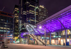 C-Train transit station, Calgary. CALGARY, CANADA - MAR 13: C-Train transit station at night on March 13, 2016 in Calgary, Alberta, Canada. The C-Train is Royalty Free Stock Photography