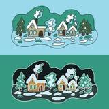 33c ural χειμώνας θερμοκρασίας της Ρωσίας τοπίων Ιανουαρίου Επίπεδη απεικόνιση Χειμερινά σπίτια διανυσματική απεικόνιση
