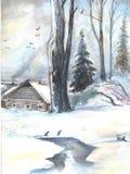33c ural χειμώνας θερμοκρασίας της Ρωσίας τοπίων Ιανουαρίου Παλαιό σπίτι στα δάση watercolor απεικόνιση αποθεμάτων