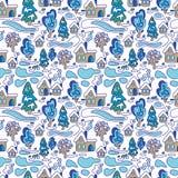 33c ural χειμώνας θερμοκρασίας της Ρωσίας τοπίων Ιανουαρίου πρότυπο άνευ ραφής μπλε snowflakes ανασκόπησης άσπρος χειμώνας ελεύθερη απεικόνιση δικαιώματος